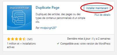 """Plugin """"Duplicate Page"""" pour dupliquer une page"""