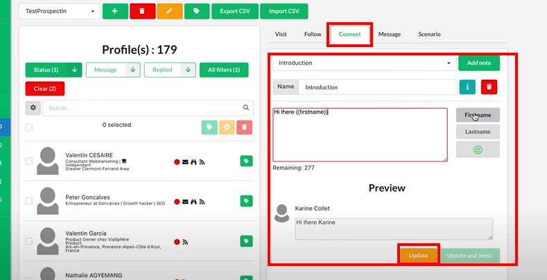 Copie d'écran qui montre comment envoyer en automatique des invitations sur LinkedIn à l'aide du logiciel ProspectIn (1/4)