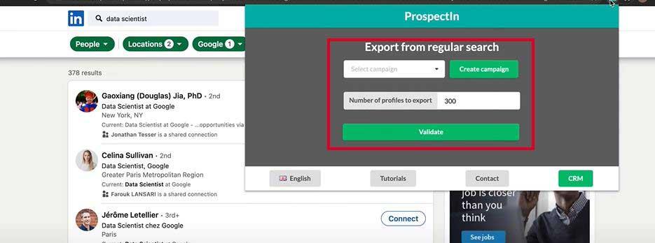Copie d'écran qui montre comment sélectionner des profils à exporter dans ProspectIn (2/4)