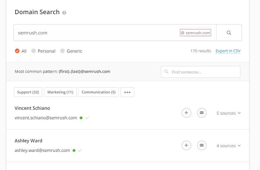Copie d'écran de la  fonctionnalité « Domain Search » Recherche de domaine de sociétés dans Email Hunter