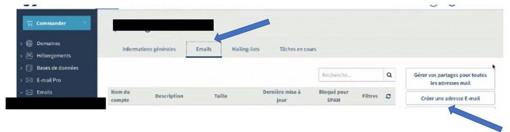 Selection du menu Emails puis Créer une adresse E-mail (OVH)