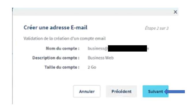 Validation de la création du mail OVH