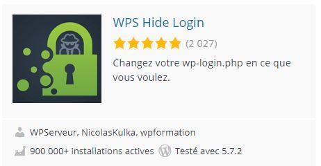 Plugin WPS Hide Login qui permet de modifier le chemin d'accès (URL) à l'admin de votre site