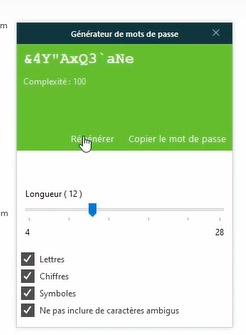 Copie d'écran di générateur de mots de passe de Dashlane